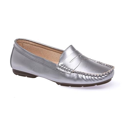 La Modeuse - Mocasines para mujer, plateado (plata), 36: Amazon.es: Zapatos y complementos