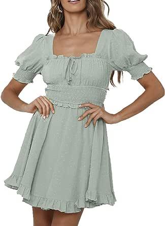 Simplee Women Sexy Deep V-Neck Short Sleeve Stripe Print Mini A Line Dress