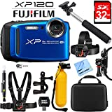 Fujifilm FinePix XP120 Blue Compact Rugged Waterproof Digital Camera 16543860 with 32GB Memory Card, Cleaning Kit, BLTCHM1 Clip Head Mount Kit, Yellow Floating Bobber Handle & More