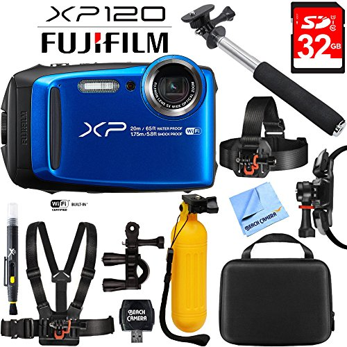 Fujifilm FinePix XP120 Blue Compact Rugged Waterproof Digital Camera 16543860 with 32GB Memory Card, Cleaning Kit, BLTCHM1 Clip Head Mount Kit, Yellow Floating Bobber Handle & More by Beach Camera