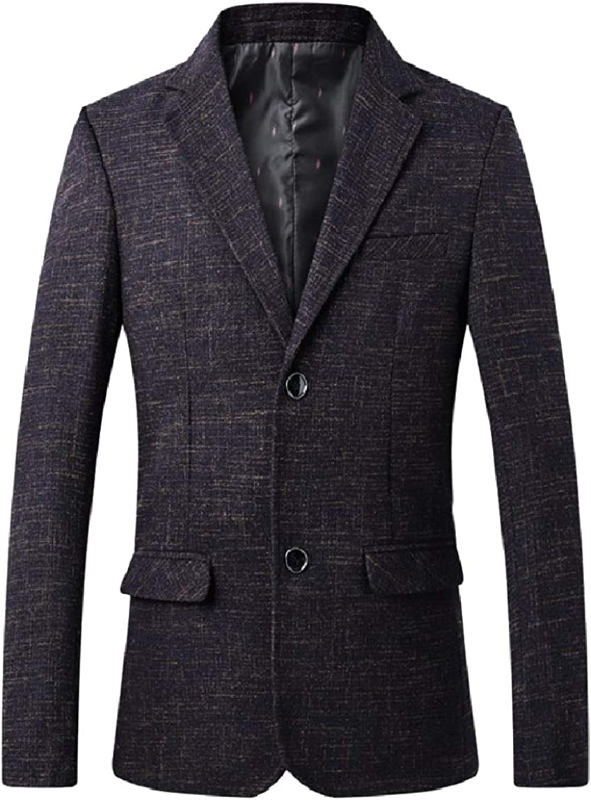 NestYu Men Skinny Blazer Notch Lapel Business 2 Button Welt Jacket