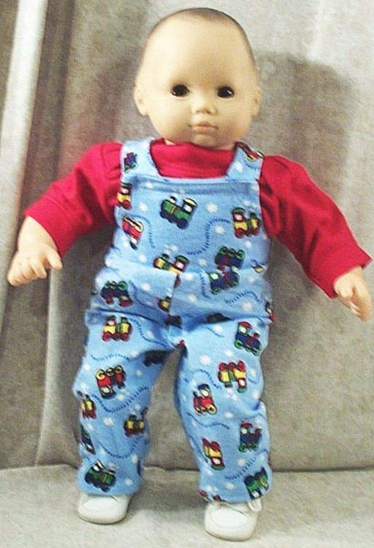 Doll Clothes Baby HandMade 4 American Girl Boy 15' Overalls 2pc Train Red Blue