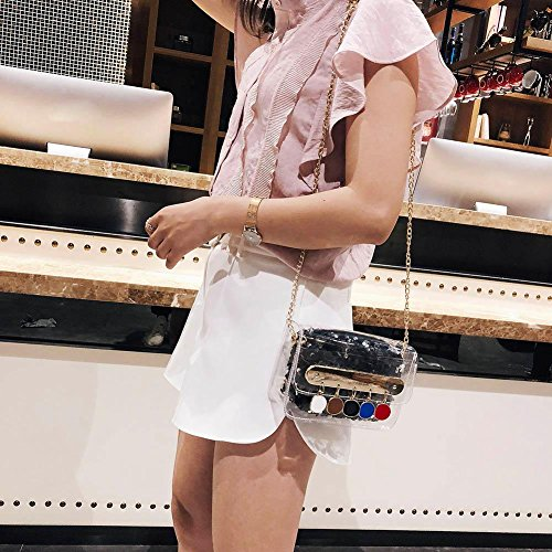 Tassel Black Sequin Glitter Women Widewing Party Bag Clear Flap Shoulder Messenger PVC Bag xqY17RRwU