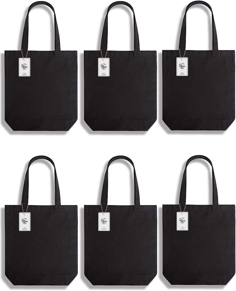 Lily Queen Natural Canvas Tote Bags DIY Reusable Shopping Grocery Bag (Black - 6 Pack)
