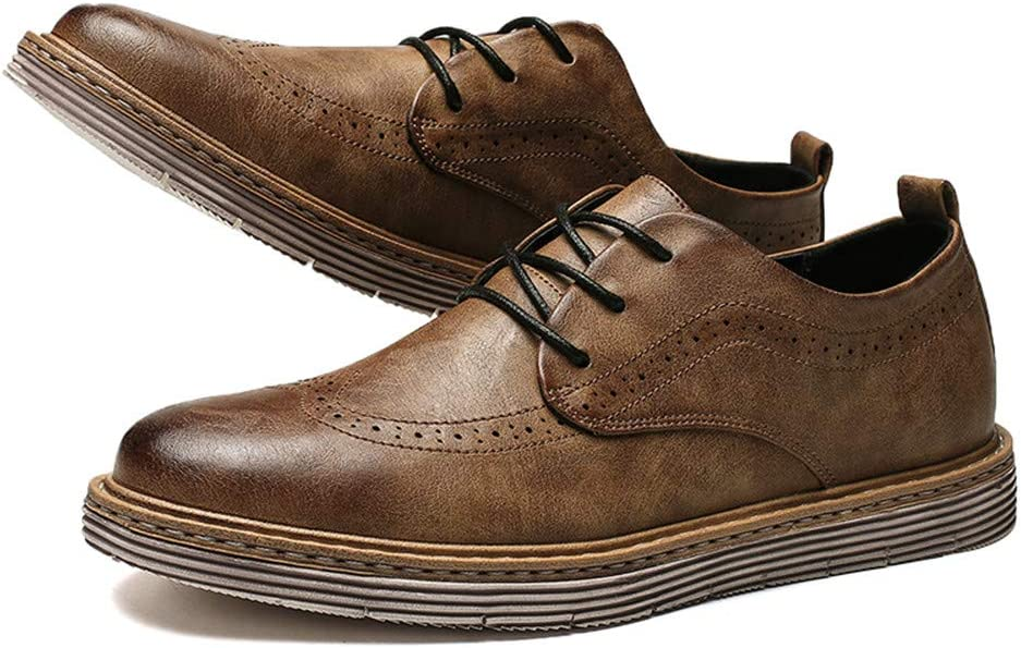 M Hilotu Clearance Mens Classic Business Oxford Casual Autumn Winter Tie Wear-Resistant Thick Bottom Brogue Shoes US Color : Black, Size : 7 D