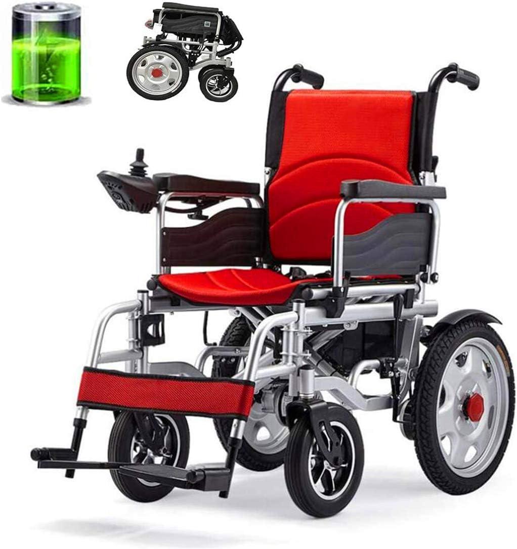 Sillas de ruedas eléctricas para adultos Silla de ruedas eléctrica plegable, marco robusto, seguro y confiable de viajes, cómodo y asiento ajustable, pesada silla de ruedas for personas mayores / disc