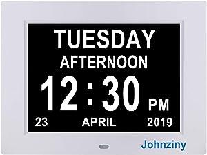 Johnziny Digital Calendar Day Clock- 8 Alarms Dementia Clocks Extra Large Non-Abbreviated Alzheimer Memory Loss Vision Impaired Battery Backup Alarm Clock for Seniors Elderly