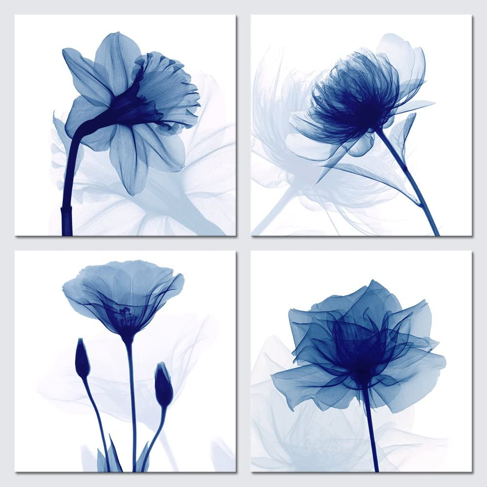 Pyradecor Large Blue Flickering Flower Modern Abstract Paintings Canvas Wall Art Gallery Wrapped Grace Floral Pictures on Canvas Prints 4 Panels Artwork for Living Room Bedroom Office Home Decorations