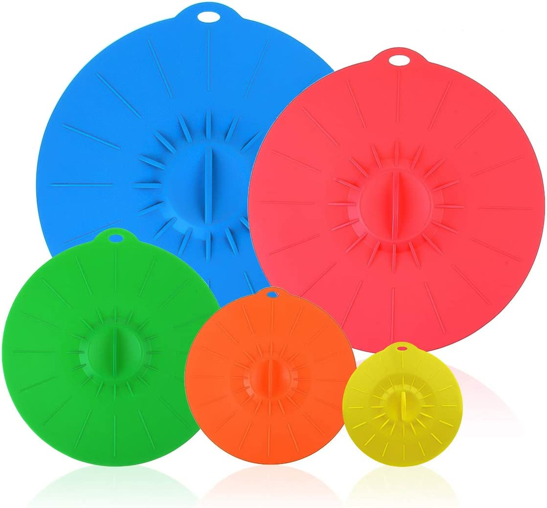 Silicone Suction Lids, Set of 5 Colorful Food Covers for Bowls Pots Pans Mugs - BPA-Free Leak-proof Containers Cover, Microwave and Dishwasher Safe - Diameter 4