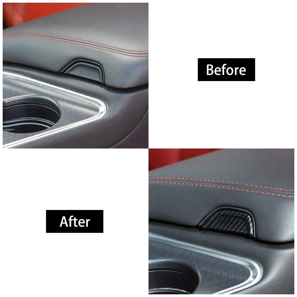 Voodonala for Challenger Center Console Armrest Open Button Trim Accessories for Dodge Challenger 2015 up Carbon Fiber Grain