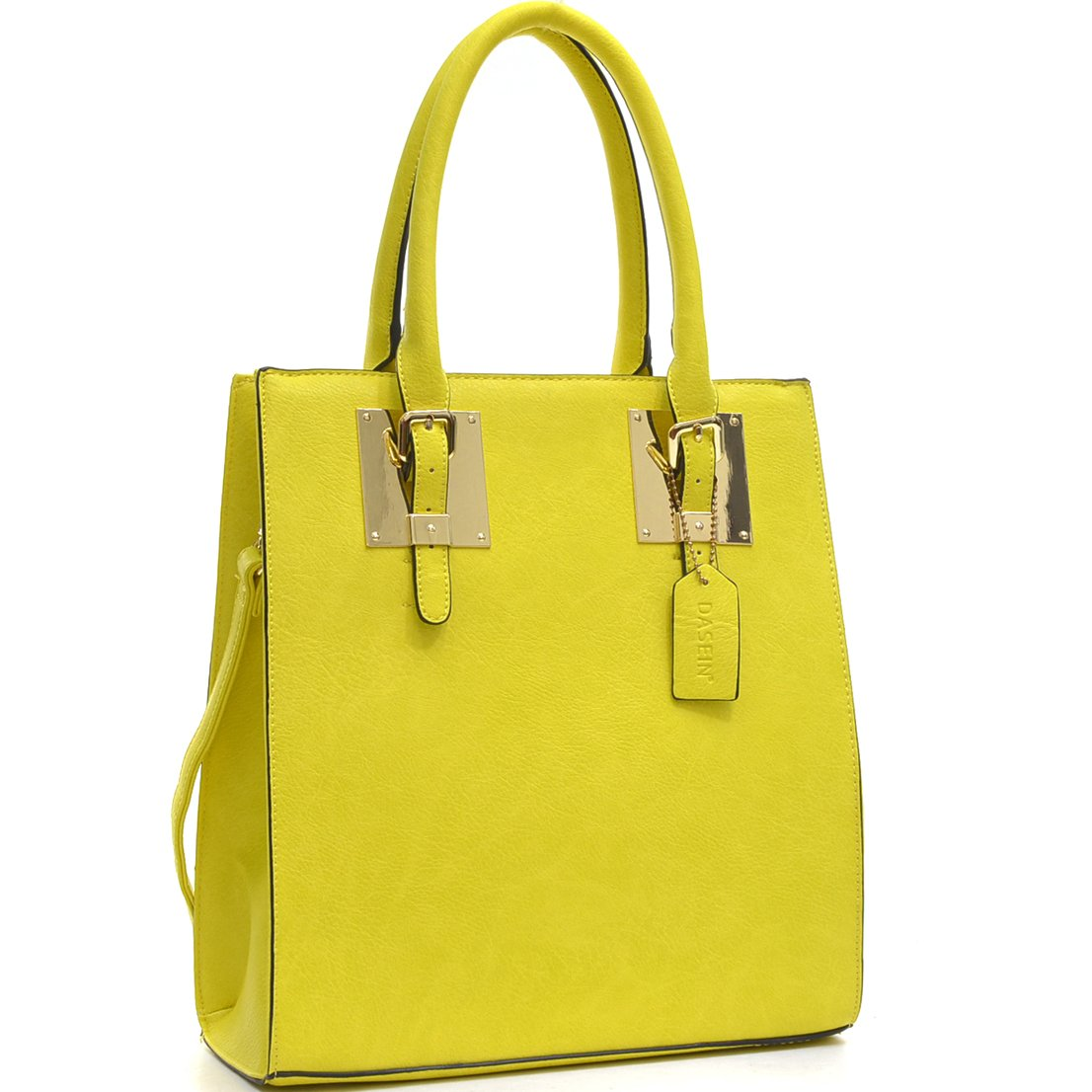 Dasein Structured Faux Leather Tote Satchel Bag with Gold-Tone Accent - Yellow