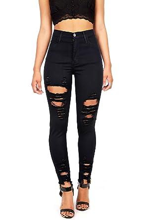 e04b4c751406 Vibrant Women s Juniors High Rise Jeans w Heavy Distressing at ...