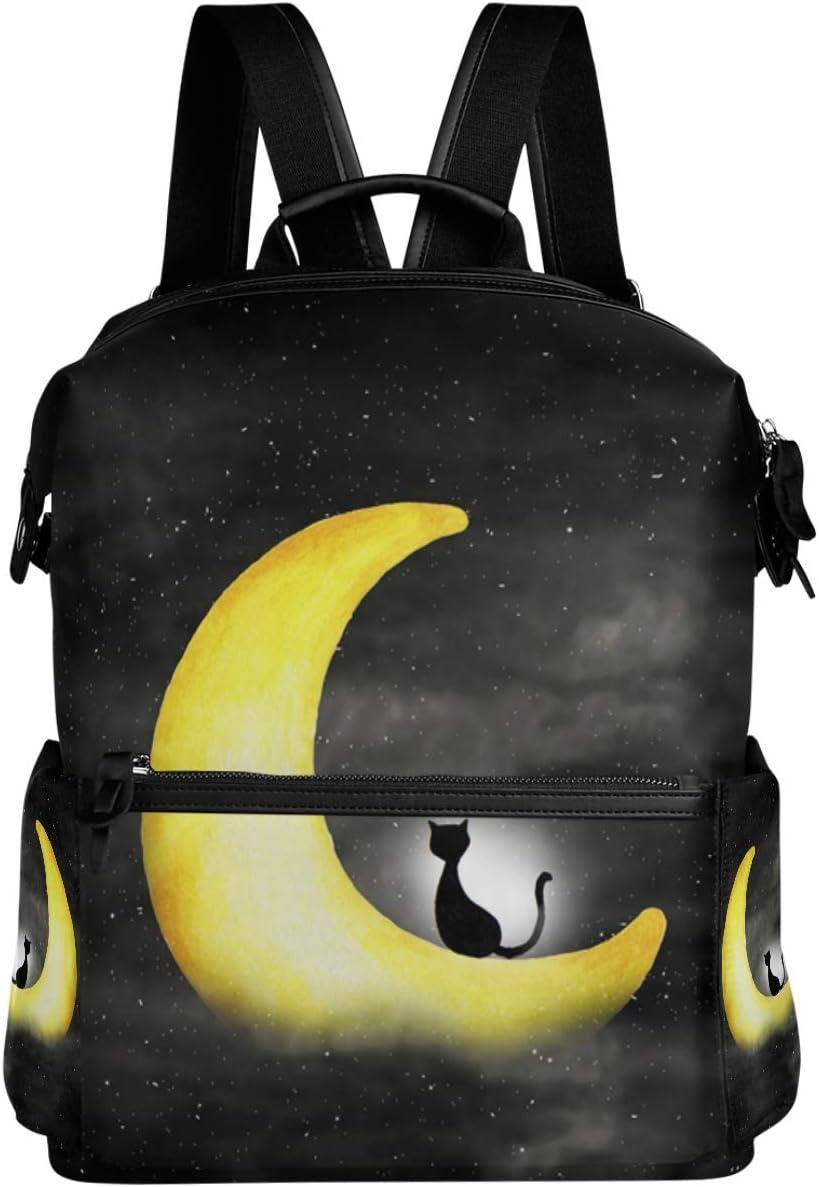 Oarencol Night Sky Cat Moon Galaxy Star Backpack School Book Bag Travel Hiking Camping Laptop Daypack