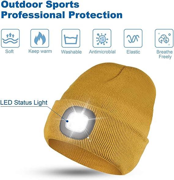 SATINIOR 3 Pieces 5 LED Knitted Flashlight Beanie Cap Winter Warm Headlamp Hat,Unisex