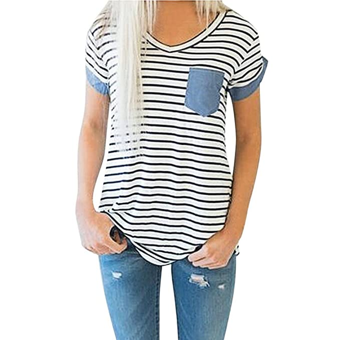 Damen Tops Sommer Gestreiftes Tops Kurzarm V-Ausschnitt Shirt Hemd Bluse  Shirt Mode Frauen Patchwork