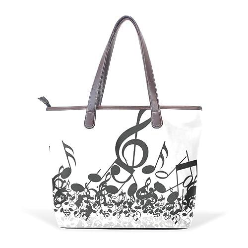 3532fa166304 DEYYA Music Note Handbag Shoulder Tote Bag Art Piano PU Leather ...
