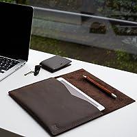 Funda De Piel Marrón Para Nuevo iPad 9.7, Pro 10.5 & Pro 12.9 Pulgadas, Estuche Con Bolsillo Para Lápiz De Apple, Regalos Con Monograma Personalizados Para Hombre//DRAFTSMAN 1 MARRÓN
