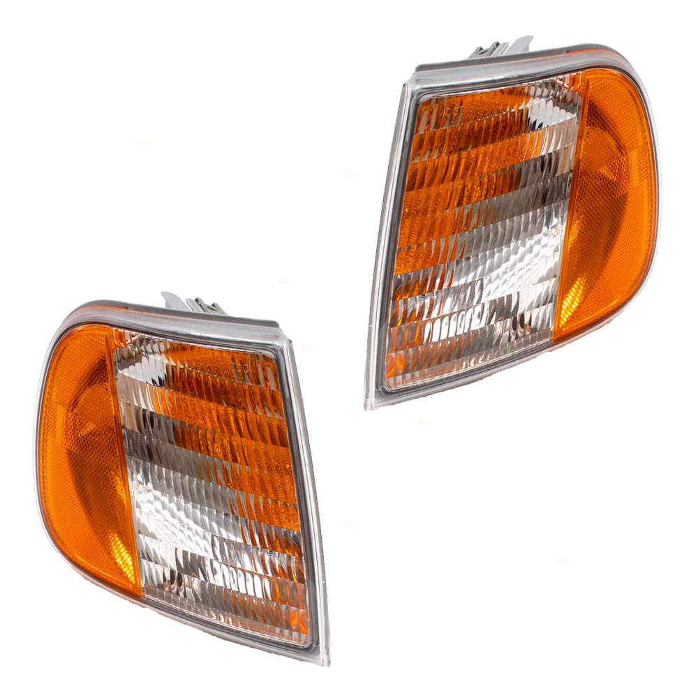 Pair Set Park Signal Corner Marker Lights Lamp Units Replacement for Ford F150 F250 Pickup Truck Expedition F75Z13201AC F75Z13200AC