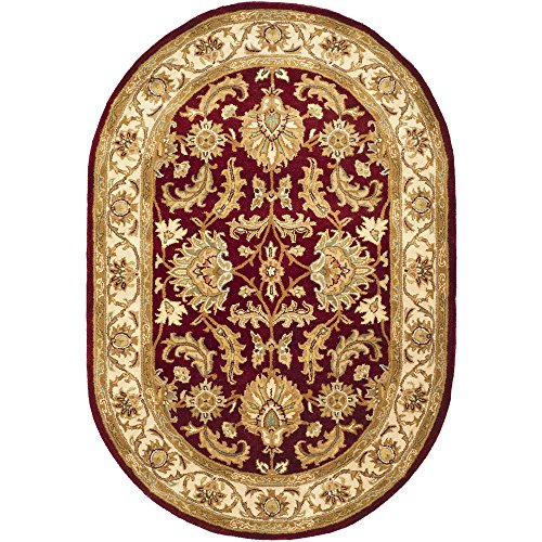 Heritage Collection Oval Rug - Safavieh Heritage Collection HG628D Handcrafted Traditional Oriental Red and Ivory Wool Oval Area Rug (4'6