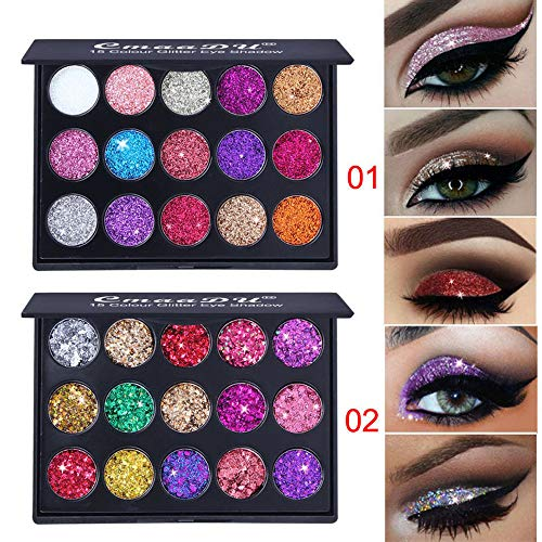 Metallic Palette (Pack of 2 Eyeshadow Palettes by HP95 30 Colors Pro Shimmer and Glitter Eye Shadow Powder Palette Metallic Bling Eyeshadow Makeup for Party Wedding Holidays Valentine's' Day)