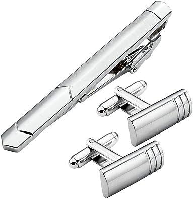 JOVIVI 3pzs/Set Pasador Clip Corbatas + Gemelos de Lujo para ...