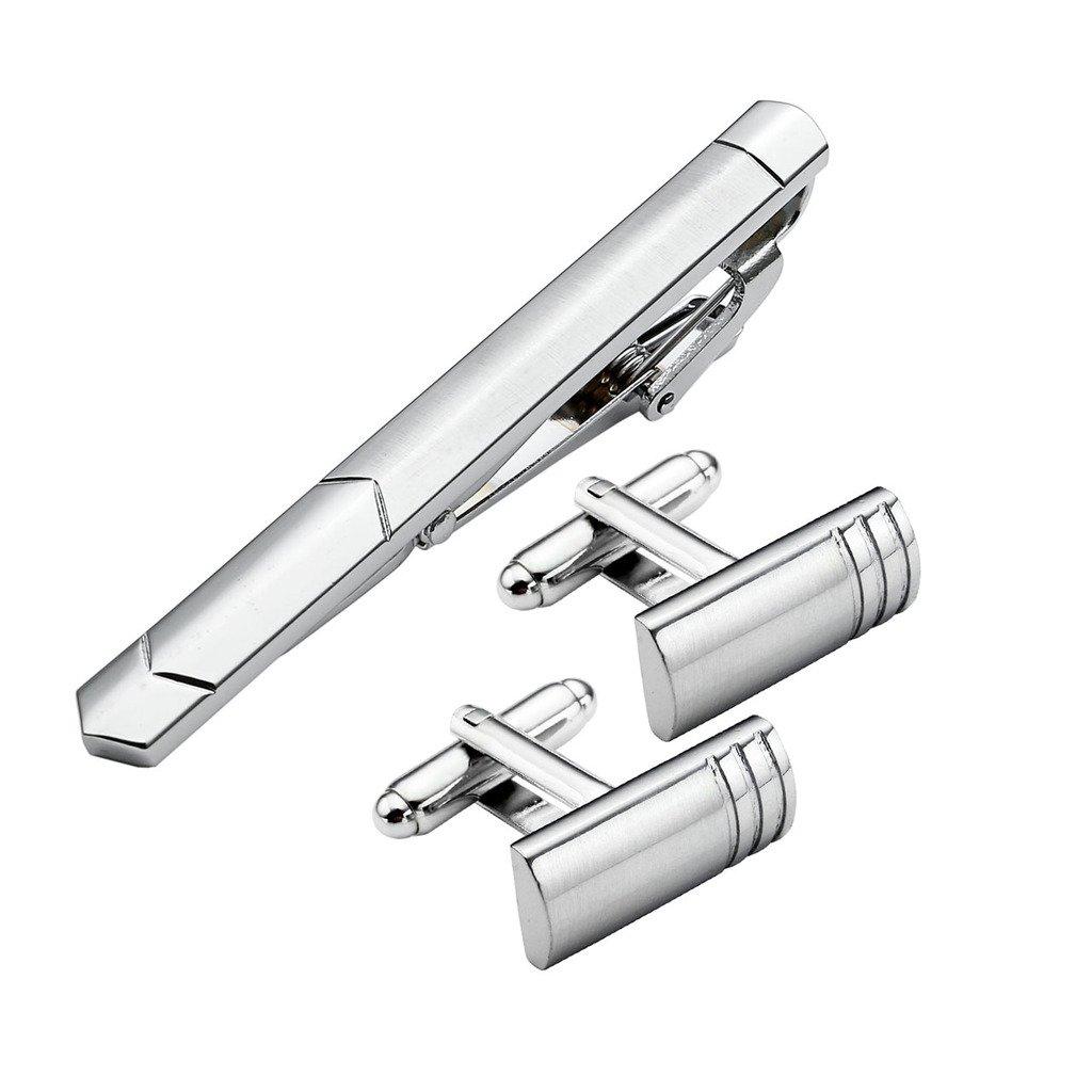 JOVIVI 3pc Set Stainless Steel Exquisite Men's Cufflinks & Tie Clip Pin Set Mix Variety Set w/Box AJ1010100661