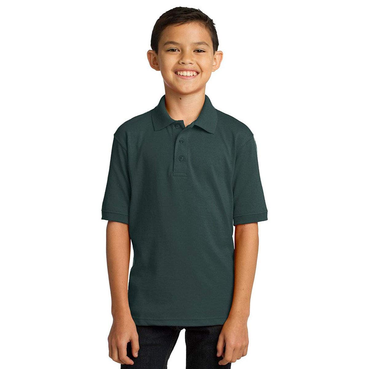 Comfortable Port /& Company Youth Polo T Shirts Short Sleeve Jersey Blend Uniform Kids Boys Color Dark Green Size L
