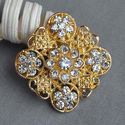 40-pcs-Gold-Rhinestone-Brooch-Crystal-Brooches-Wedding-Invitation-Cake-Decoration-Brooch-Bouquet-Kit-Wholesale-Lot-AMBR664
