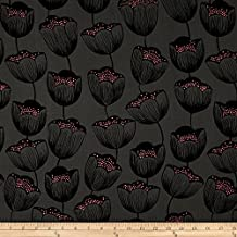 Cotton + Steel Magic Forest Rayon Challis Magic Tulips Grey Fabric By The Yard