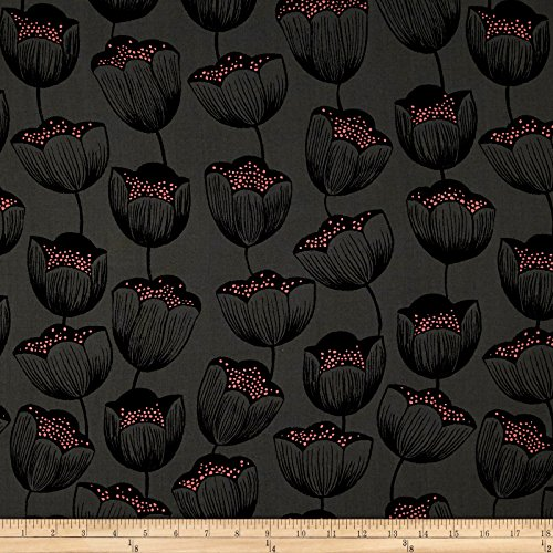 Cotton + Steel Magic Forest Rayon Challis Magic Tulips Grey Fabric By The (Tulip Magic)