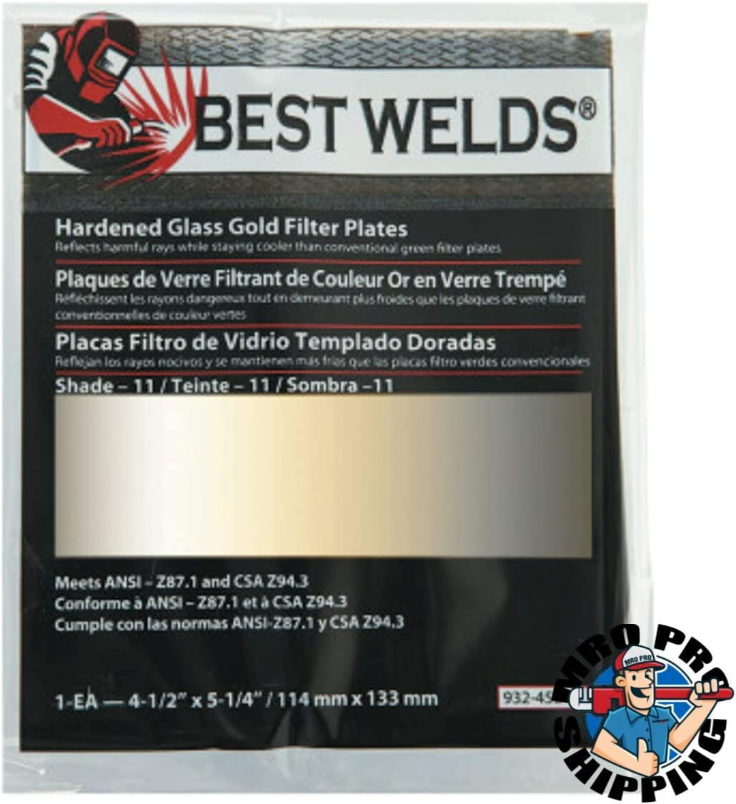 HARDENED GLASS LENS for WELDING HELMET SHADE 9 WELDING FILTER PLATE 2 x 4.25