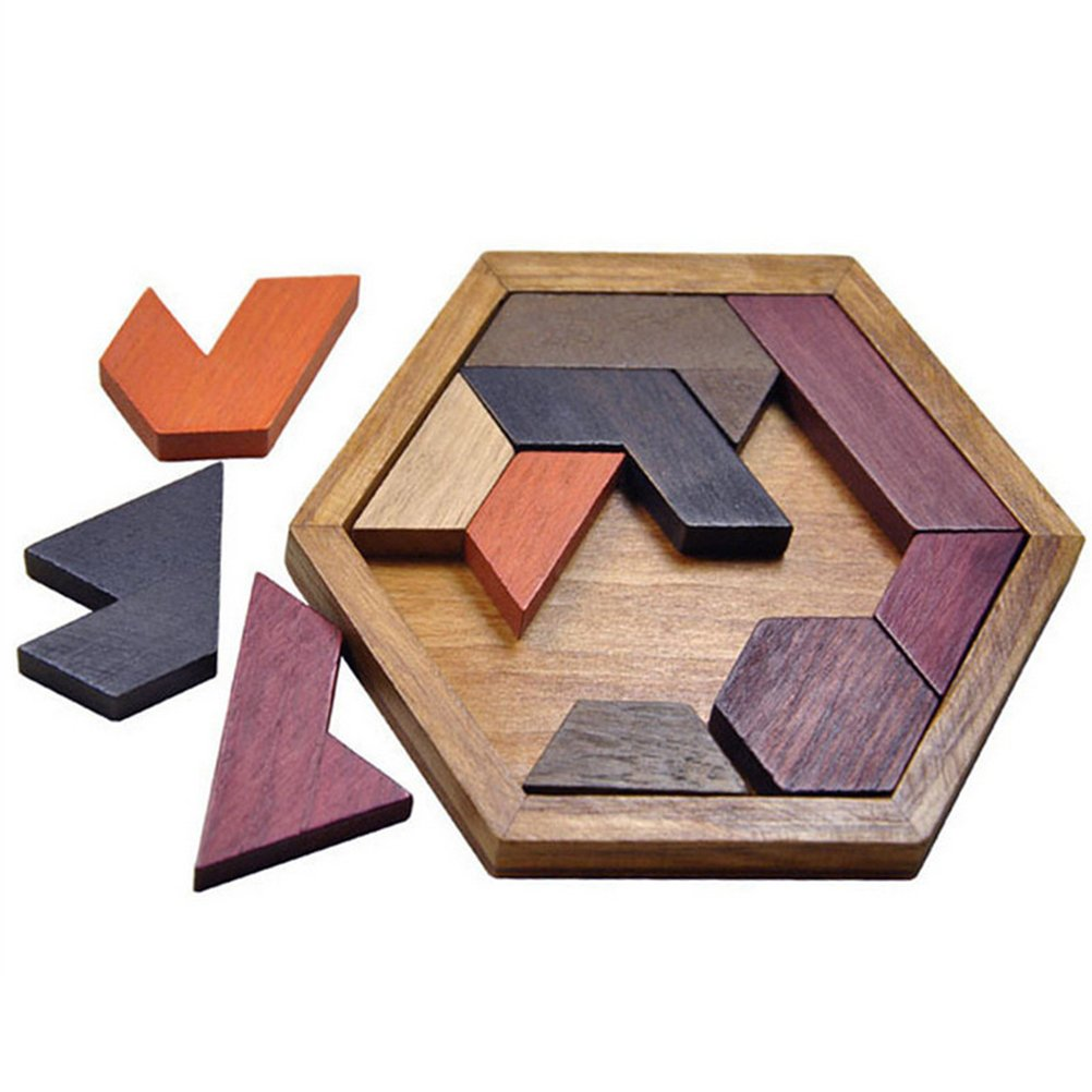 NUOLUX Wooden Puzzle Hexagon Tangram Jigsaw Puzzles Toy Brain Puzzles For Kids 12 pcs