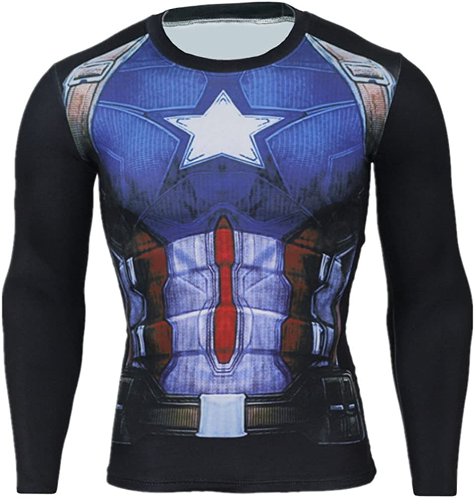 Mens Dry Fit Captain America Long Sleeve Compression Workouts Shirt