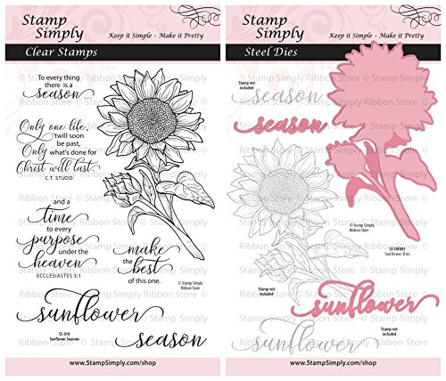 Stamp Simply Clear Stamps Sunflower Season Garden Flower and Die Christian Religious (2-Pack) 4x6 Inch Sheets - 10 Pieces (Stamp Clear Set Garden)