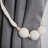 Chictie Nordic Cotton Wood Beads Curtain Rope Tiebacks Tie Band Drapery Holdbacks Ins Popular White Simple Room Décor,Set of 2