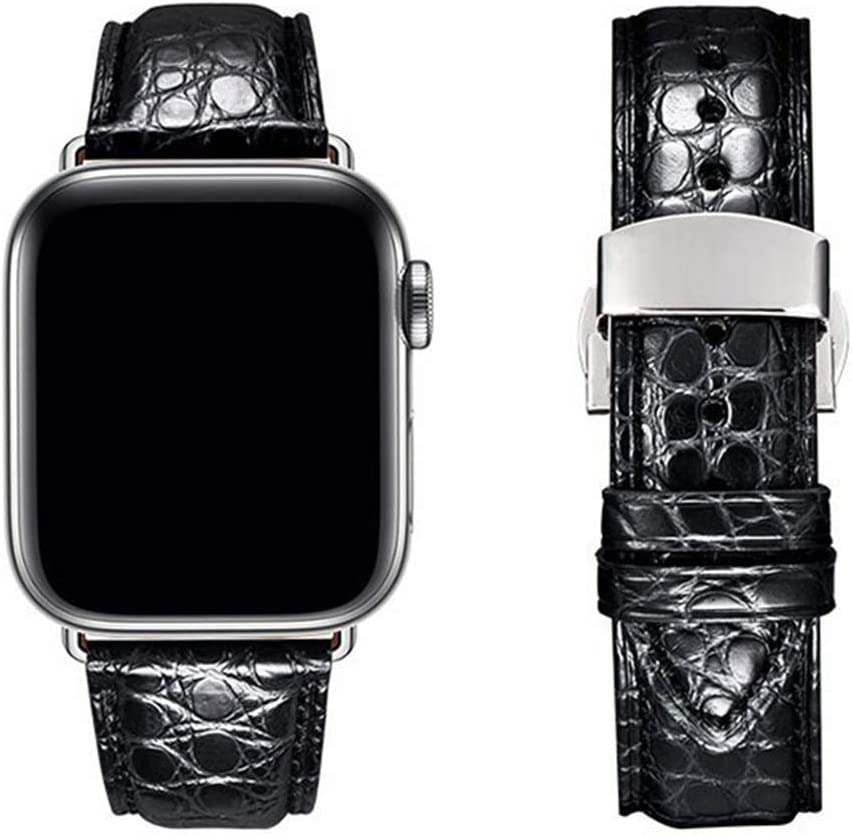 Moran Compatible with Apple Watch Band Alligator Genuine Leather Band 38mm 40mm 42mm 44mm Butterfly Buckle Crocodile strap iWatch series 6 5 4 3 2 1 SE (Crocodile Black Silver Buckle, 42mm/44mm)