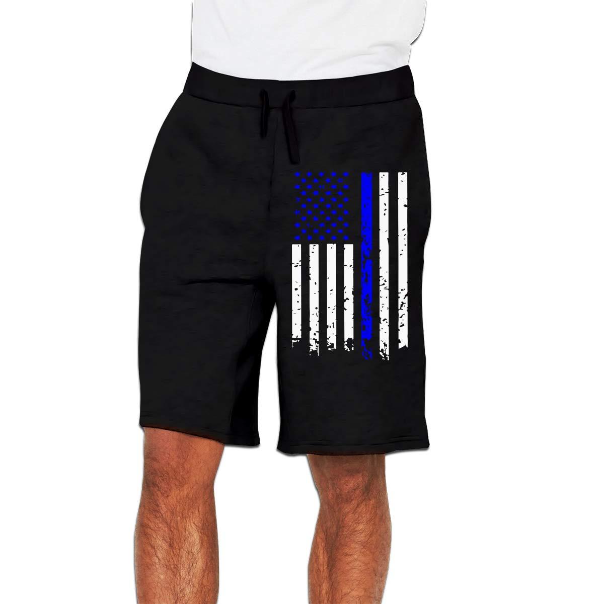 Nx55Ol@KU Mens Fashion Thin Blue Line Flag Jogger Sweatpant Bodybuilding Gym Shorts