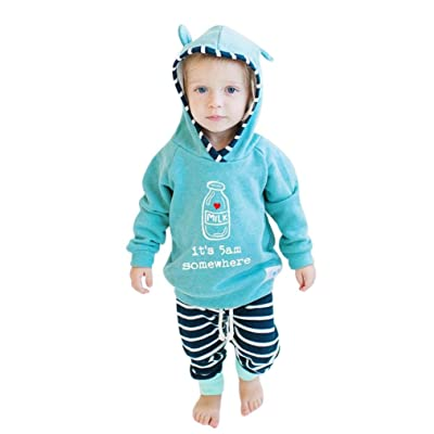 Kehen 2pcs Infant Baby It's 5am Somewhere Letter Long Sleeve Hoodie Tops + Striped Pants