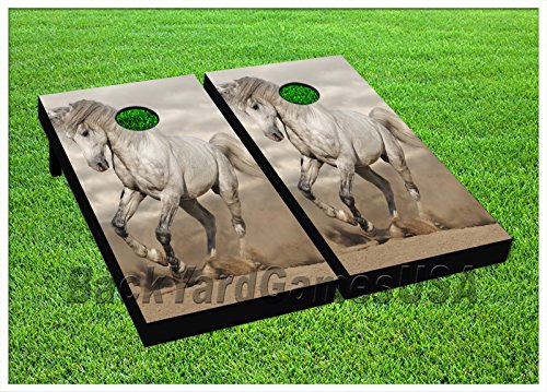 Horse Racing CORNHOLE BEANBAG TOSS GAME w Bags Game Board Pony Derby Set 548