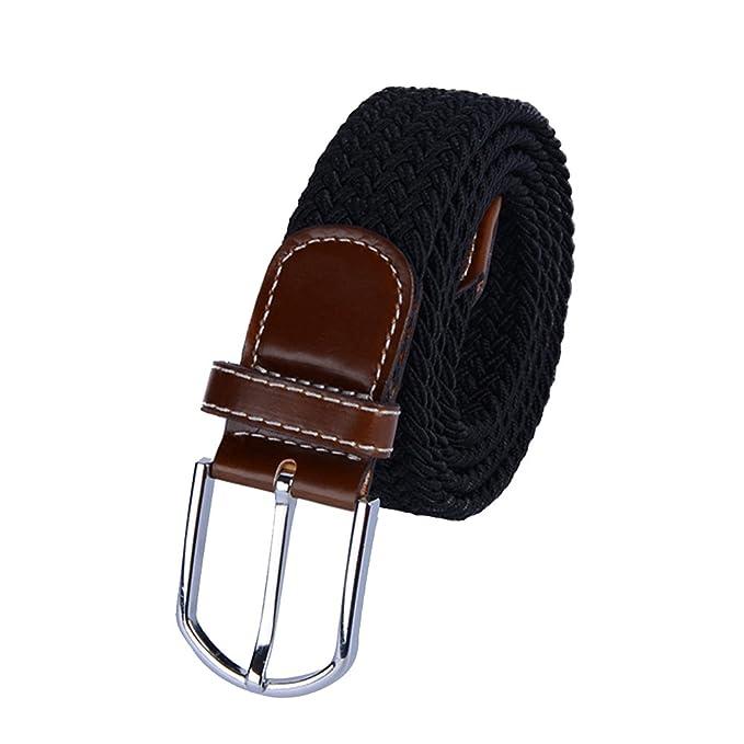 Tinksky Universal tejido trenzado cinturón tejido casual Tejido tejido  cinturón elástico con lazo de cuero de 1fde45147a8f