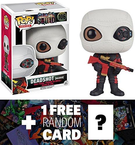 Deadshot (Masked): Funko POP! x Suicide Squad Figure + 1 FREE Official DC Trading Card Bundle (083601)