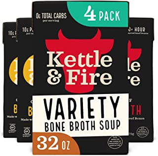 product image for Bone Broth Variety Pack, Beef and Chicken by Kettle and Fire, 32oz For Cooking, Keto Diet, Paleo Friendly, Whole 30 Approved, Gluten Free, with Collagen, 10g of Protein (Pack of 4)