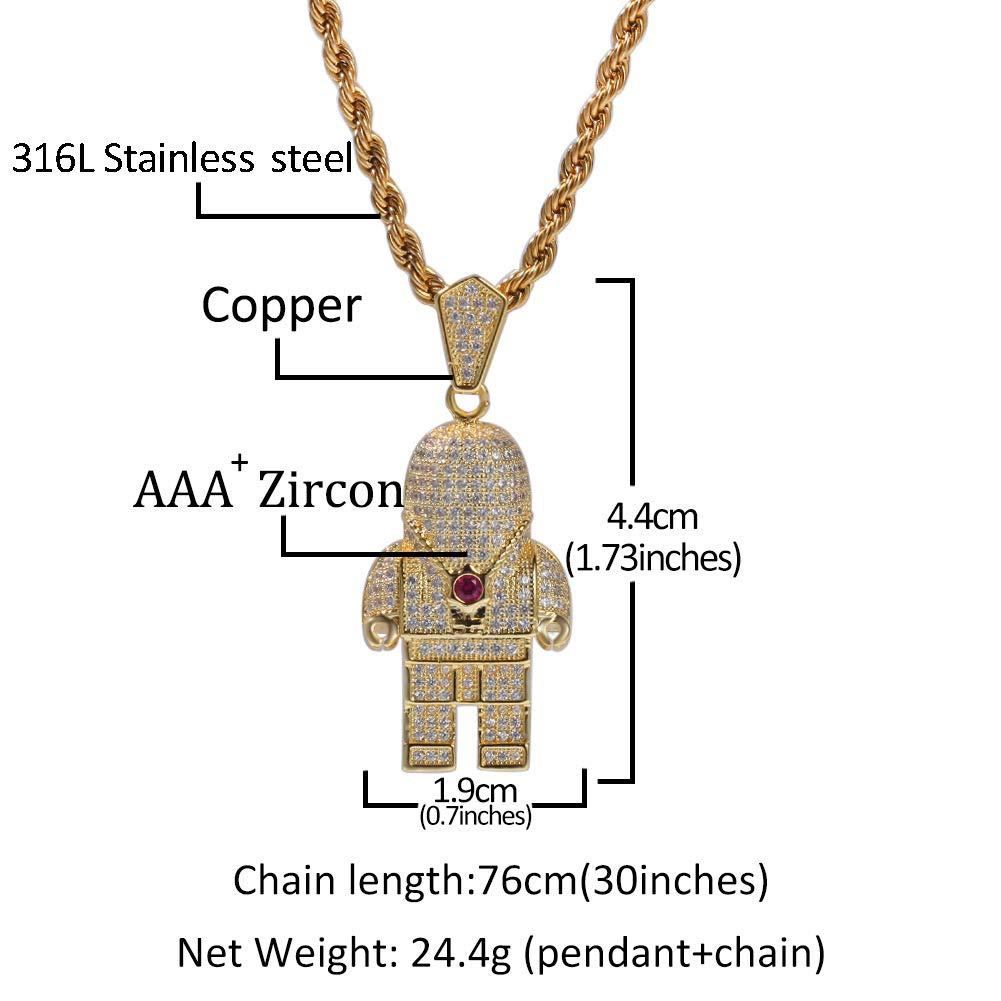 Moca Jewelry Iced Out Astronaut Spaceman Pendant 18K Gold Plated Bling CZ Simulated Diamond Hip Hop Necklace for Men Women