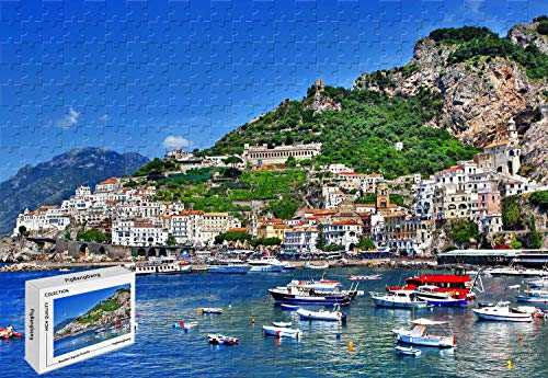(1500 Piece Jigsaw Puzzle - Salerno Italy Wood-Material Large Size,34.2 X 22.4 Inch)