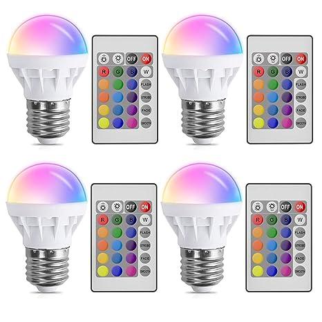 Bombillas de Colores LED E27 3W,XJLED LED Bombilla Regulable 16 Color con Mando Remoto,para Decoración para el hogar Bar Partido KTV Etapa Efecto ...