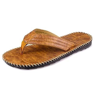 Tongs en PU Plage Homme Été Sandales Ourlet Mules à Imprimé Slippers Flip- Flops bc5e2109c8d7