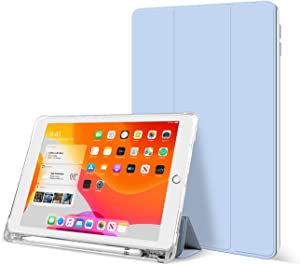 KenKe iPad 9.7 Inch 2018/2017 Case with Pencil Holder Cover Compatible with Leightweight Clear Transparent Smart Cases for Apple iPad 9.7 5th/6th Generation Soft TPU Skin (White ice)