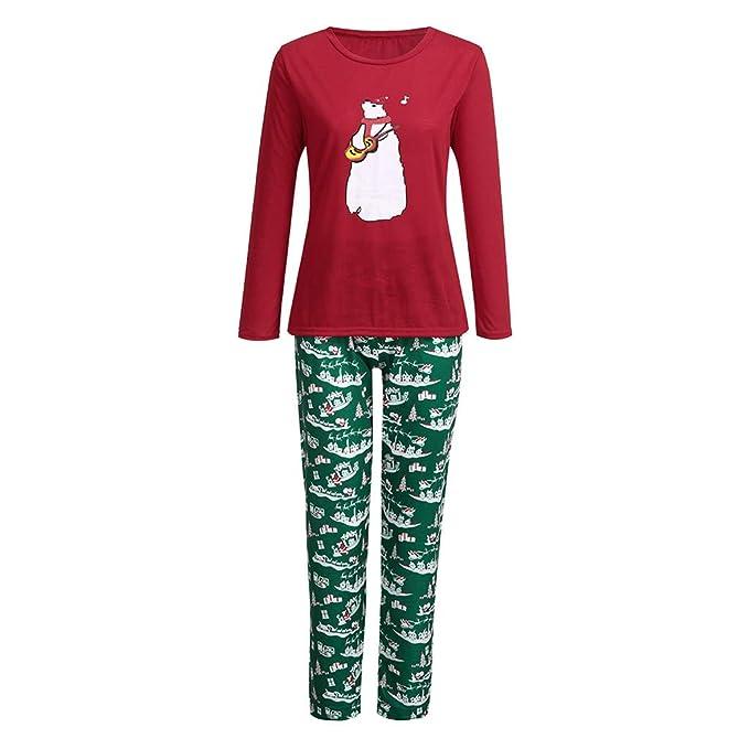 ❤ Navidad Familia Pijamas Conjunto Mujeres Hombres niños bebé niña Camiseta  Tops Pantalones Familia Pijamas Ropa de Dormir Trajes de Navidad chándal ... f7282965a56e