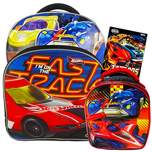 "Fast Forward Hot Wheels Backpack Combo Set ~ Deluxe 16"" Hot Wheels Backpack with Lunch Box for Kids Boys with Bonus Temporary Tattoos (Hot Wheels School Supplies)"