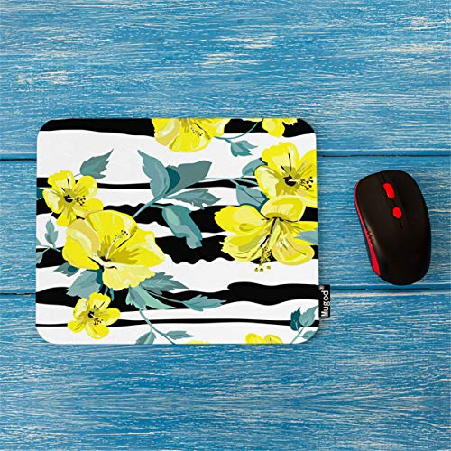 (Mugod Mouse Pad Exotic Tropical Hibiscus Flowers on a Striped Background Decor Gaming Mouse Pad Rectangle Non-Slip Rubber Mousepad for Computers Laptop 7.9x9.5 Inches)